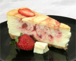White Chocolate Cheesecake with Strawberry Swirl